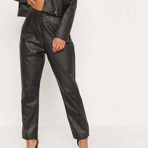 Faux leather slim trouser